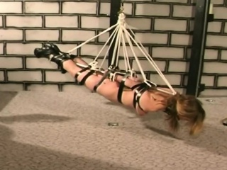 Chick blonde slave bound floor by master tortured