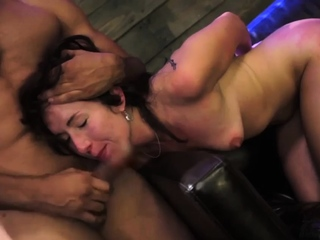 Man bondage to the bed and latex cum vibrator She whips