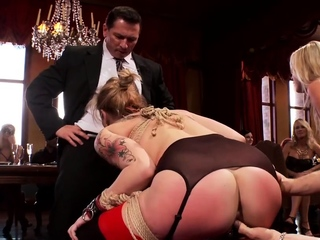 Blondes riding big dick at bdsm party