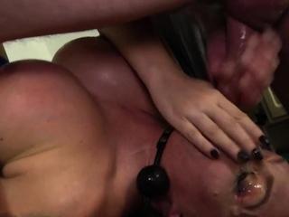 Submissive slut throating