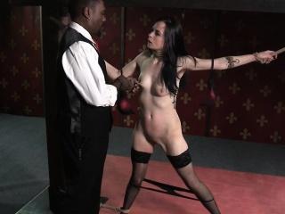 Bound spex sub clamped by black maledom