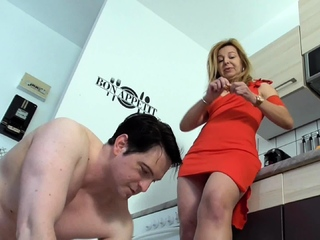 milf mistress humiliate slave bobby for kitchen cleaning