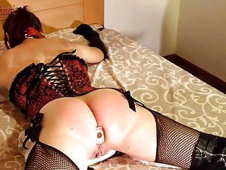 Hard whipping & belting spread eagle plugged and gagged slut