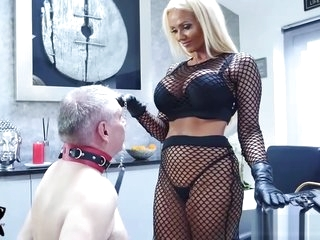 Mistress Lucy Zara whips ruins old slave in bondage session