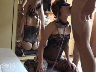 Braided Goth Chick in Fishnet & Leash Gets Rough Skullfuck & Covered in Cum